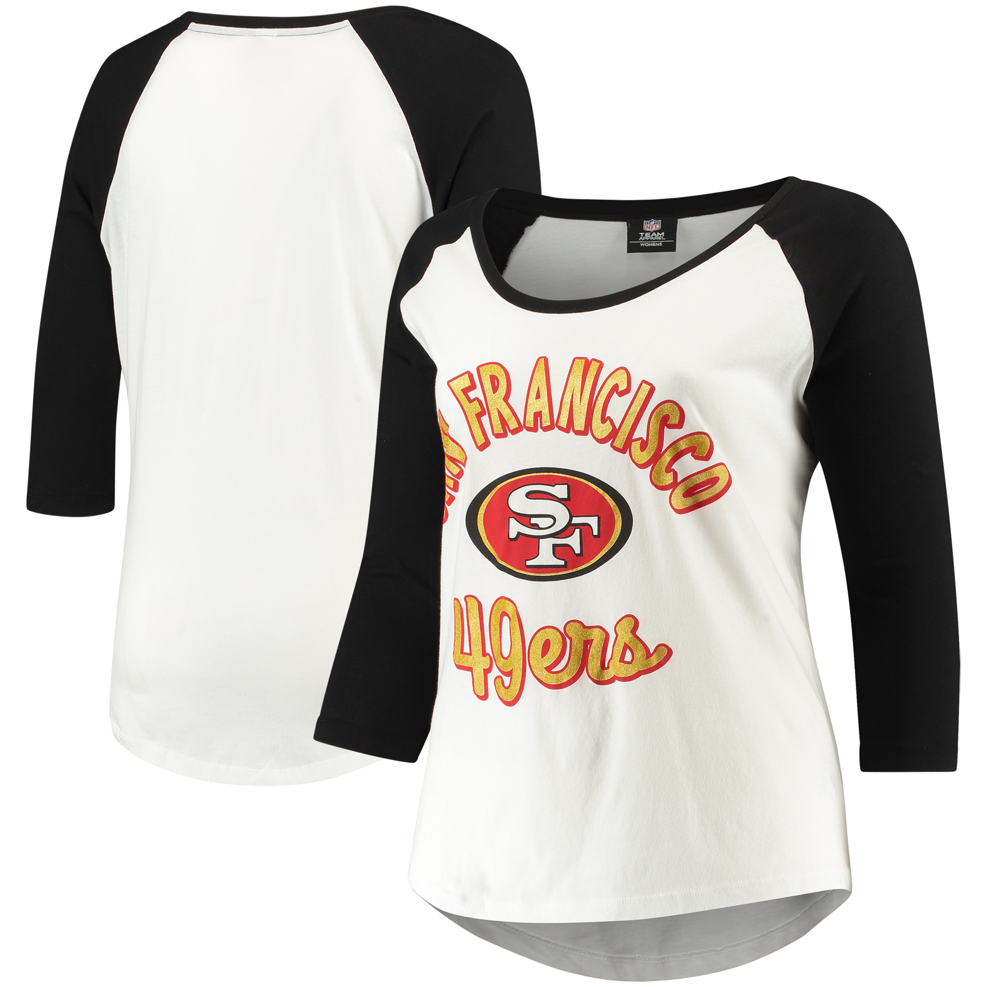 San Francisco 49ers 5th & Ocean by New Era Women's Plus Size 3/4-Sleeve Raglan T-Shirt - White/Black