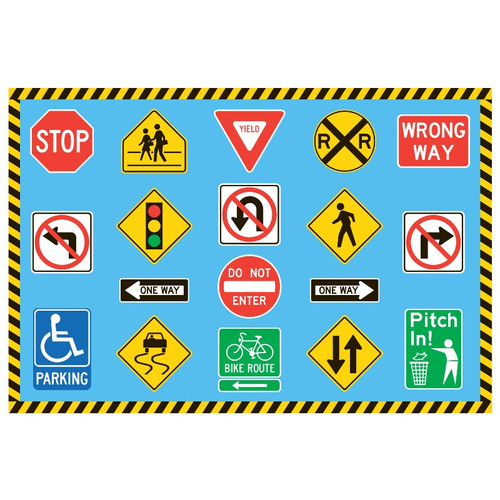 Fun Rugs Fun Time Traffic Signs Kids Rug