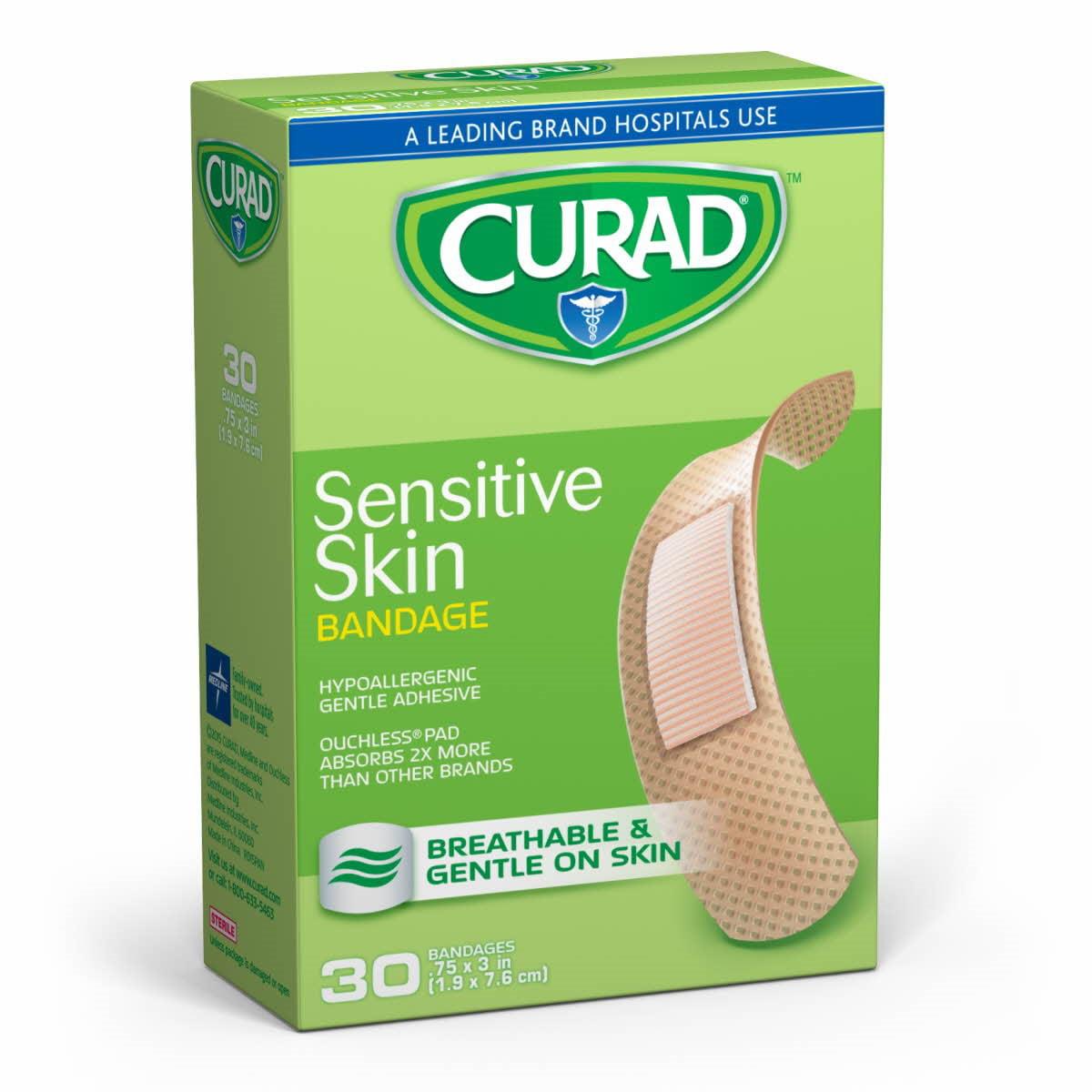 Curad Sensitive Skin Bandages, Tan, 30 Ct