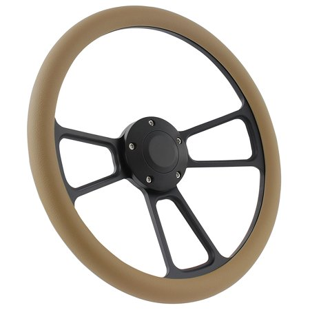 - Black Boat Steering Wheel 14 Inch Aluminum With Tan Vinyl Half Wrap, Horn Button, and Installation Adapter