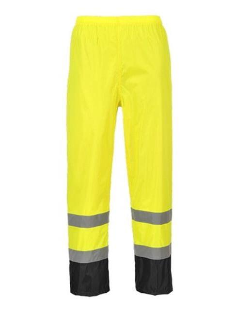 Portwest H444 Medium Hi-Visibility Classic Contrast Rain Trousers, Yellow & Black - Regular