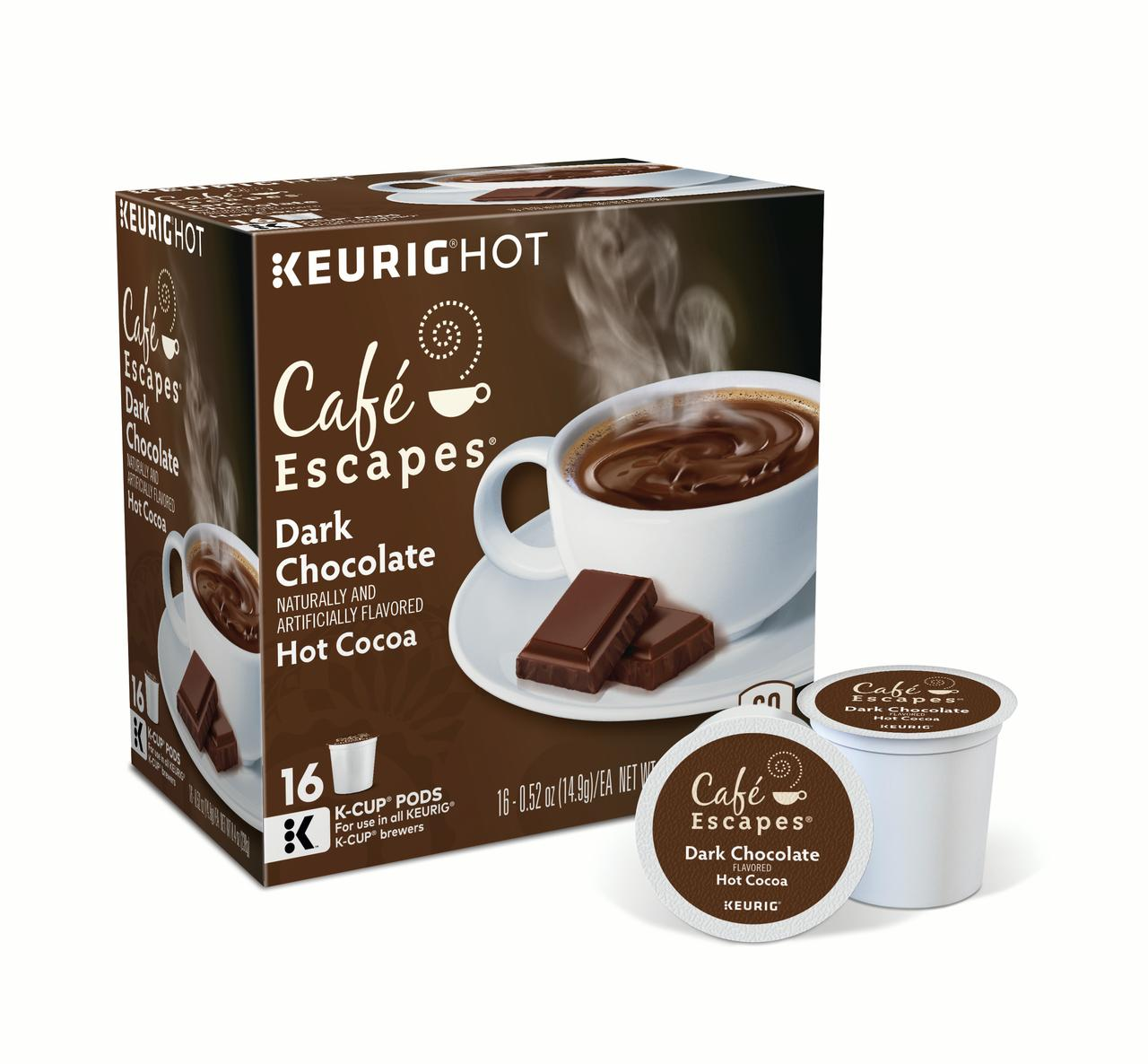 Café Escapes Dark Chocolate Hot Cocoa Keurig Single-Serve K-Cup Pods, 16 Count