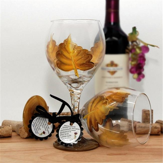 Judi Painted it LF-SBY Leaf Wine Glass, School Bus Yellow