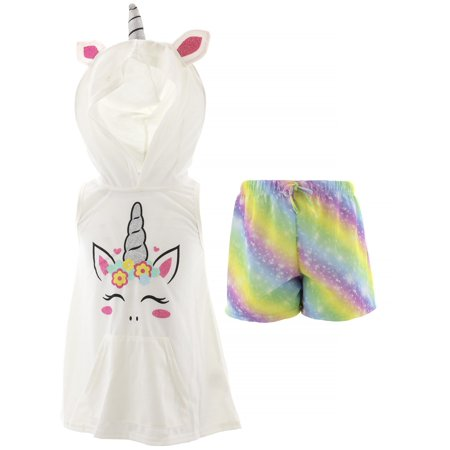 dELiA*s Girls Unicorn White Hooded Short Pajamas