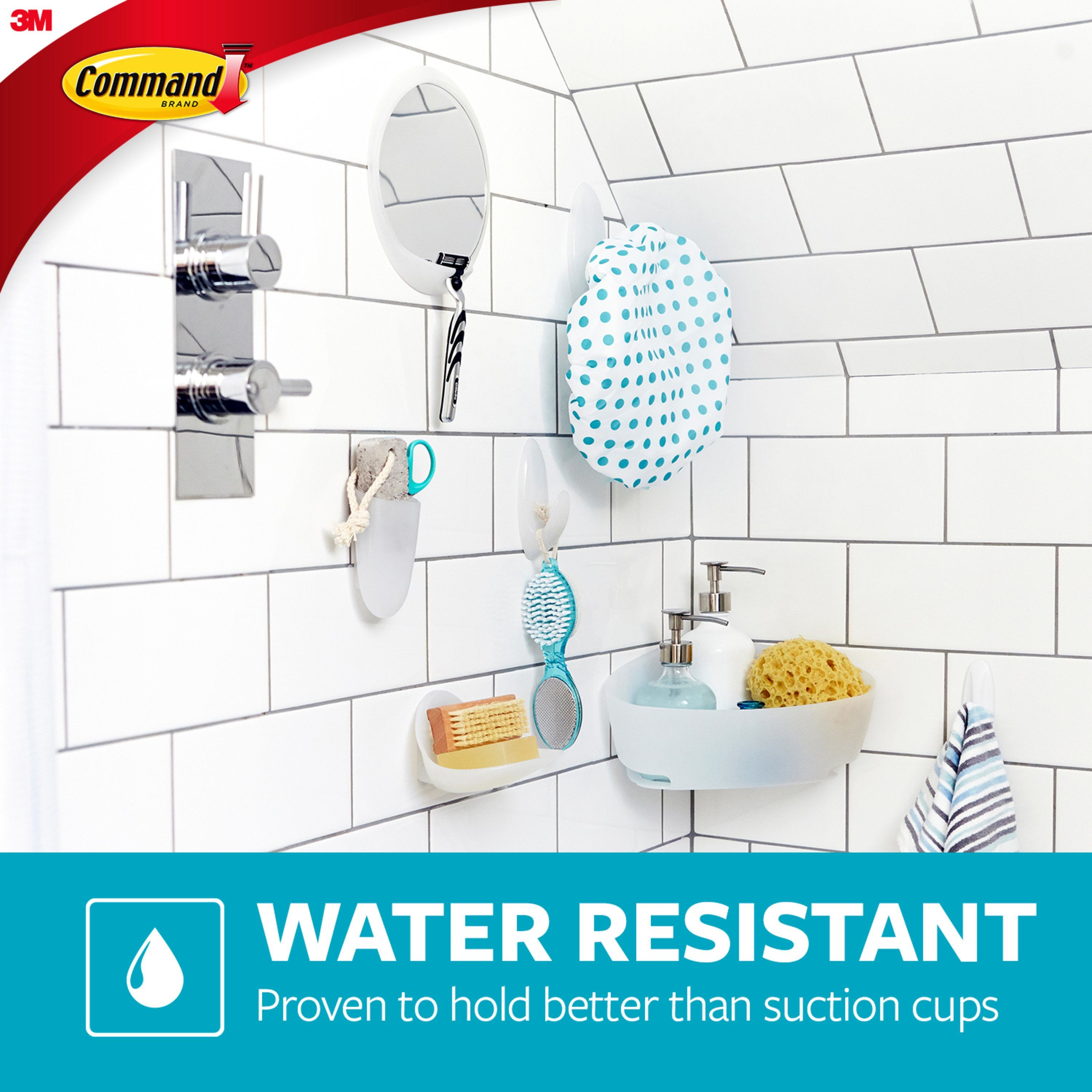 Command Bath Hook Frosted Medium 2 Hooks 2 Strips Pack