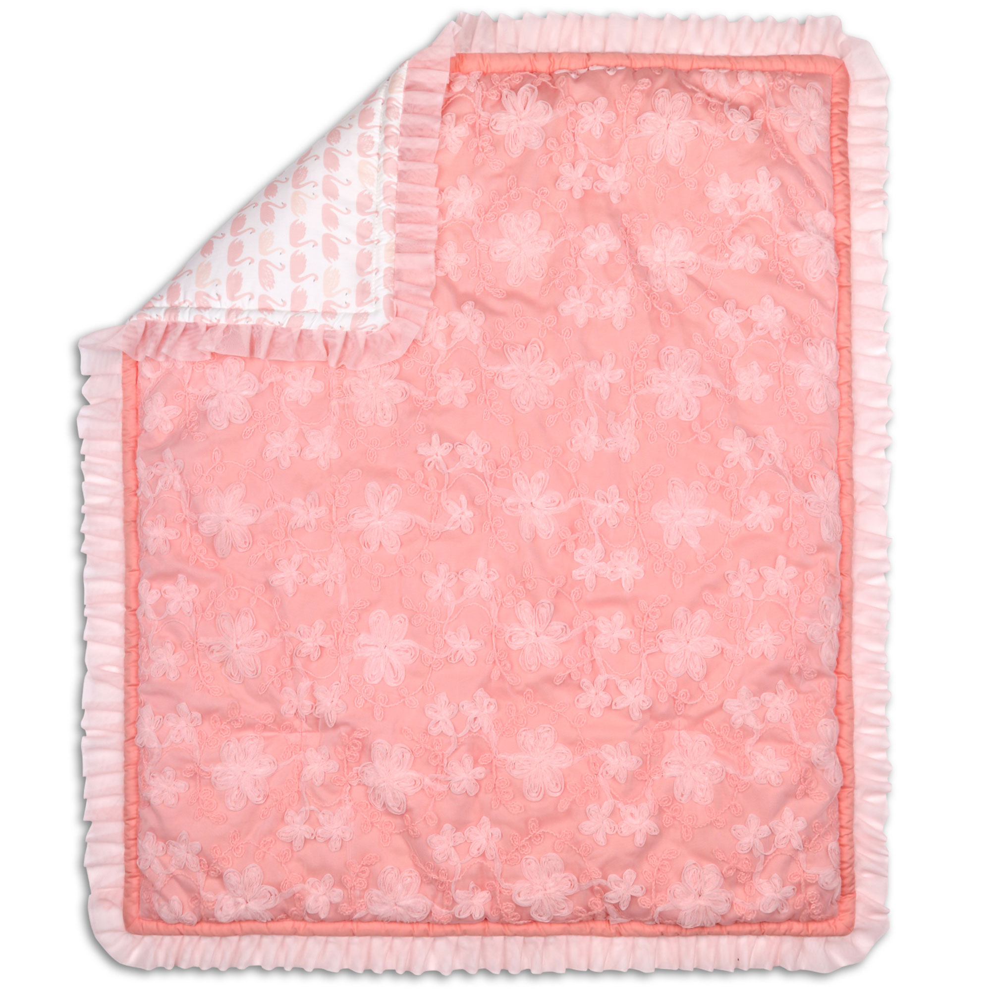 Audrey Coral Pink Floral Baby Girl Crib Quilt by The Peanut Shell by The Peanut Shell