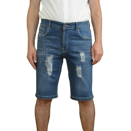Mens Denim Shorts Stretch Regular Slim Fit Distressed Ripped Holes Shorts Jeans