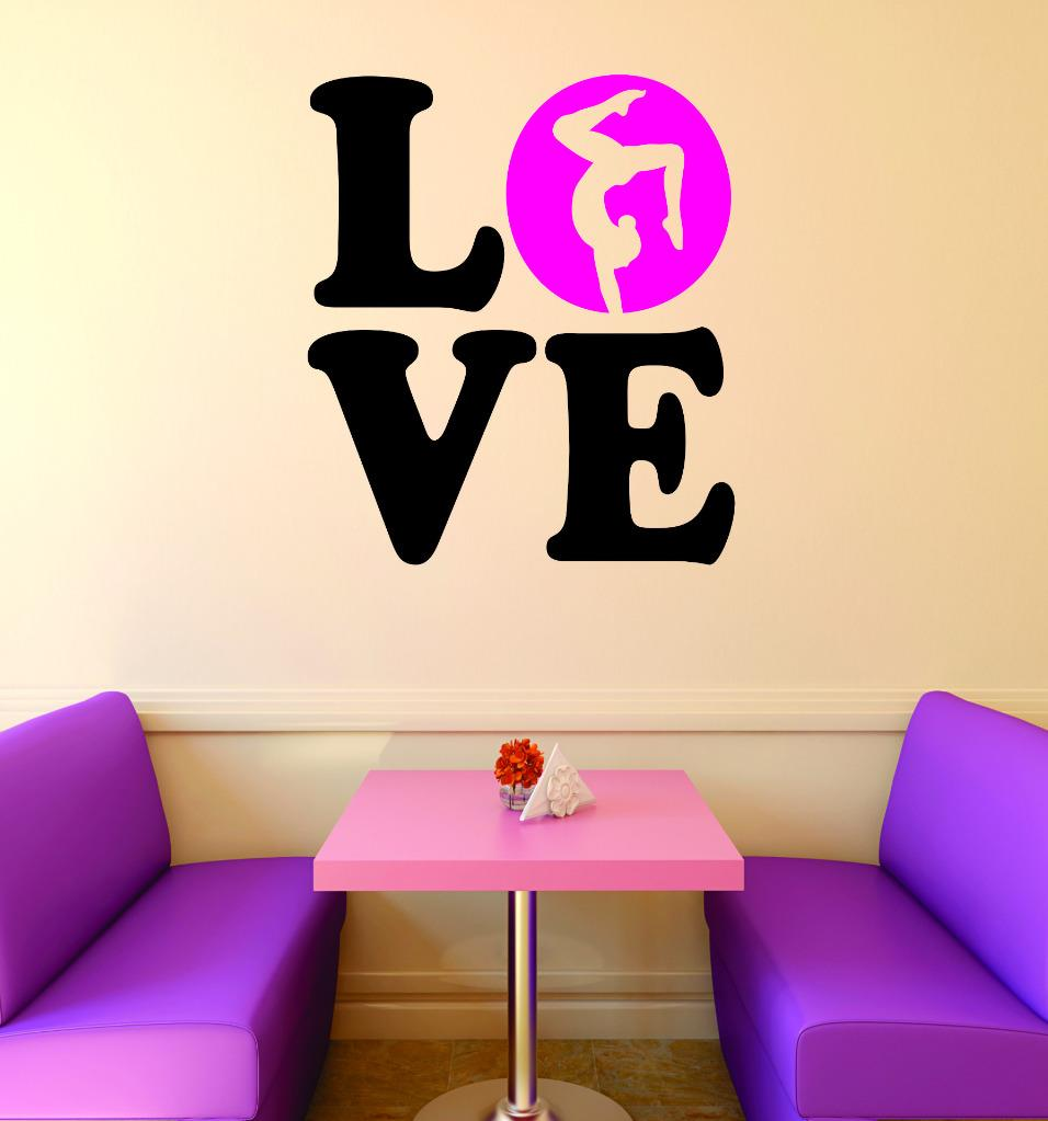 Do It Yourself Wall Decal Sticker Love Gymnastics Sign Teen Girl Bedroom  Decoration Home Decor 30x30