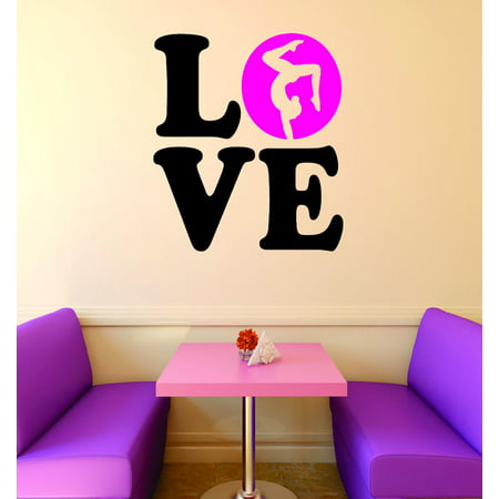 (Custom Wall Decal Vinyl Sticker : Love Gymnastics Sign Teen Girl Bedroom Decoration Picture Art Home Decor 16x16)