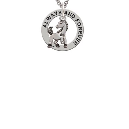 Mustang Mascot (Silvertone Small Mustang - Mascot Always and Forever Affirmation Ring)
