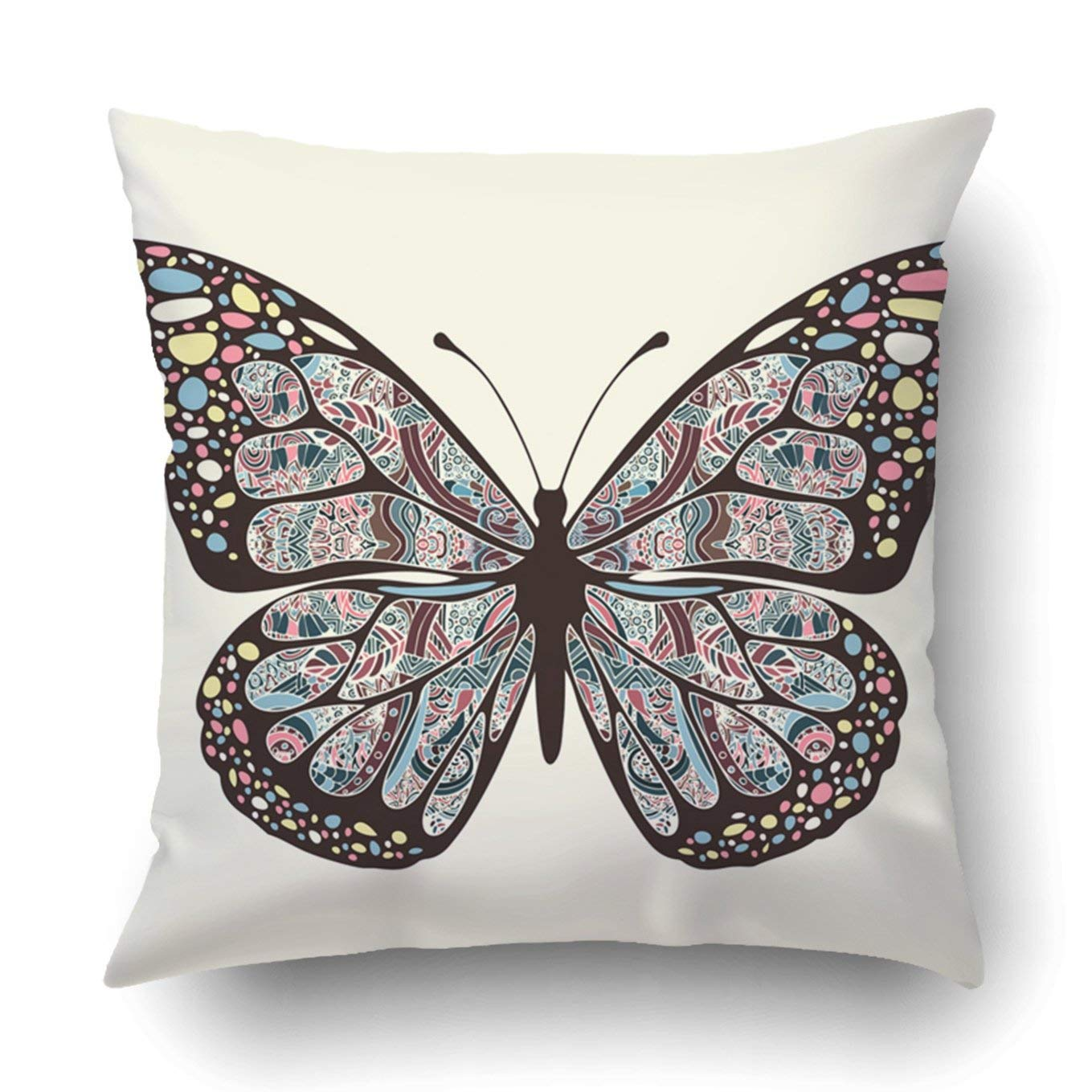 WOPOP Butterfly Wings with multicolored boho ethnic hippie arabesque bohemian exotic Pillowcase Throw Pillow Cover Case 16x16 inches