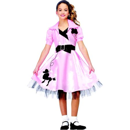 Hop Diva Pink Black 50s Poodle Party Dress Girls Halloween Costume](Poodle Girl)