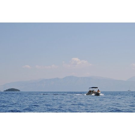 Canvas Print Water Greece Greek Travel Boat Tourism Ocean Sea Stretched Canvas 10 x