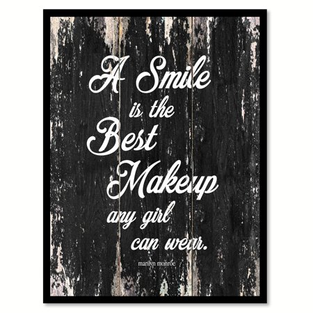 A Smile Is The Best Makeup Any Girl Can Wear - Marilyn Monroe Motivation Quote Saying Black Canvas Print Picture Frame Home Decor Wall Art Gift Ideas 22