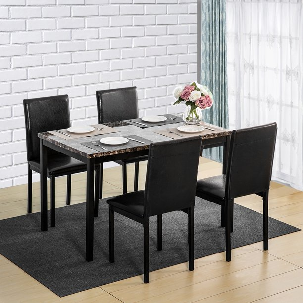 Dining Table Set with Table and 4 Chairs, 5 Piece Dining Set with Marble Table Top and Metal Frame, Elegant Style Dining Table Set for Kitchen Dining Room, Home Family Party Dining Set, Black, Y0875