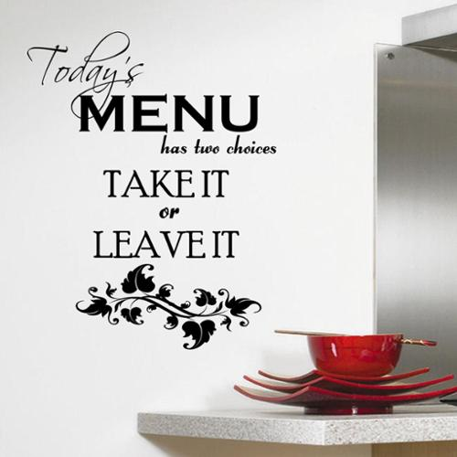 Decal the Walls Today's Menu' Kitchen Vinyl Wall Art Decal