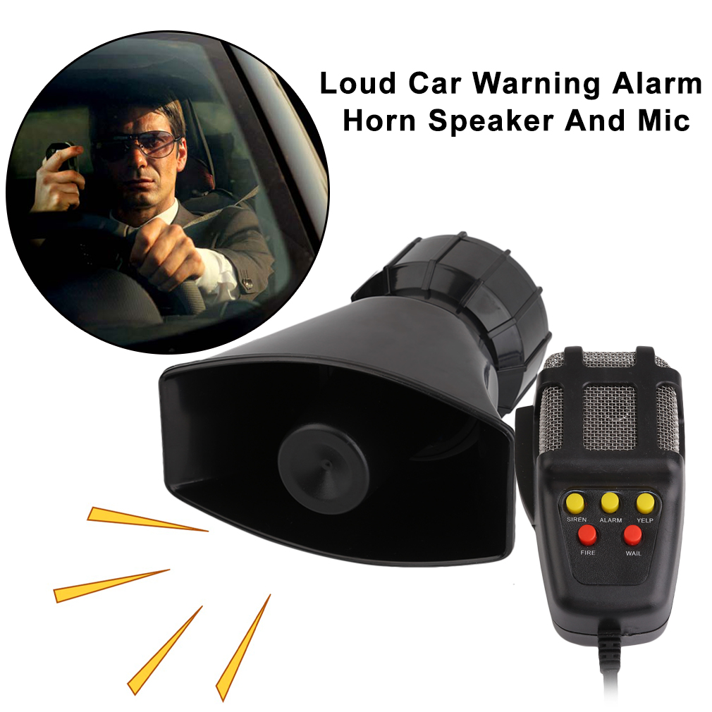 Motorcycle Horn Electronic Loud Car Warning Alarm Motorcycle Horn PA Speaker With Microphone, black