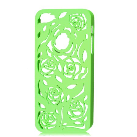 Rose Pattern Lime Green Plastic Back Case Cover for iPhone 5 5G 5th Gen