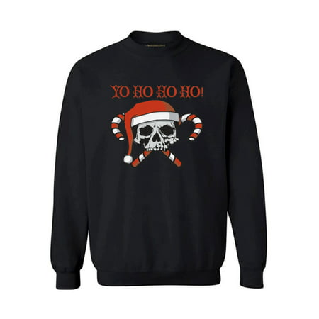 Rhinestone Skull Sweatshirt - Awkward Styles Yo Ho Ho Ho Christmas Sweatshirt Holiday Sweater Xmas Gifts Christmas Sweatshirt for Men for Women Skull and Crossbones Candy Canes Santa Ugly Christmas Sweater Holiday Sweatshirt