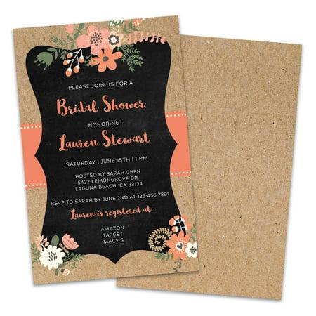 Personalized Kraft Frame Floral Bridal Shower - Walmart Bridal Shower Invitations