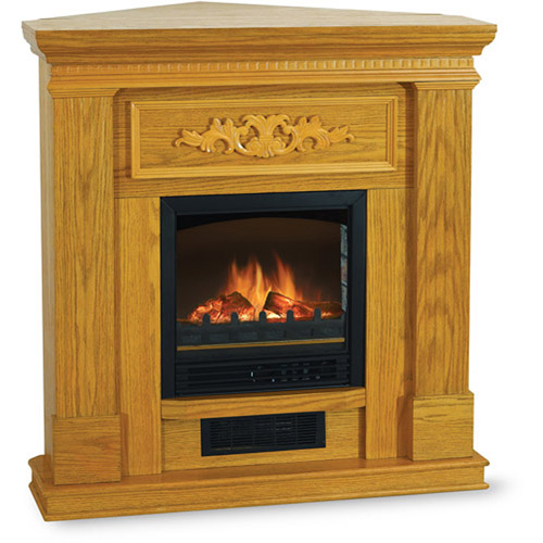 "Quality Craft 38"" Corner/Flat Electric Fireplace, Oak  QCM650-38A-OAK"