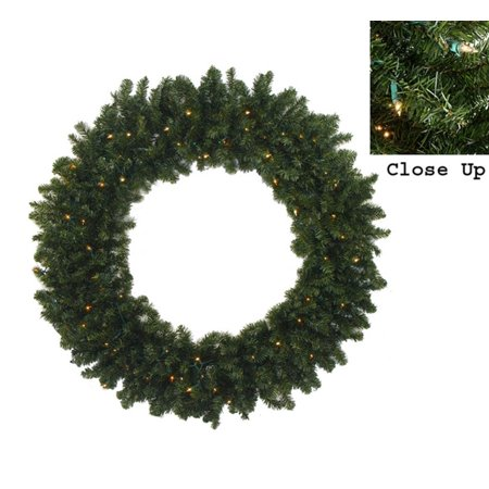 "60"" Pre-Lit Commercial Canadian Pine Artificial Christmas Wreath - Clear Lights"