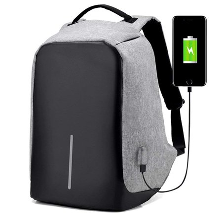 Gray Anti-Theft Laptop Backpack USB Charging Port Nylon Waterproof Travel (Grey Laptop Backpacks)