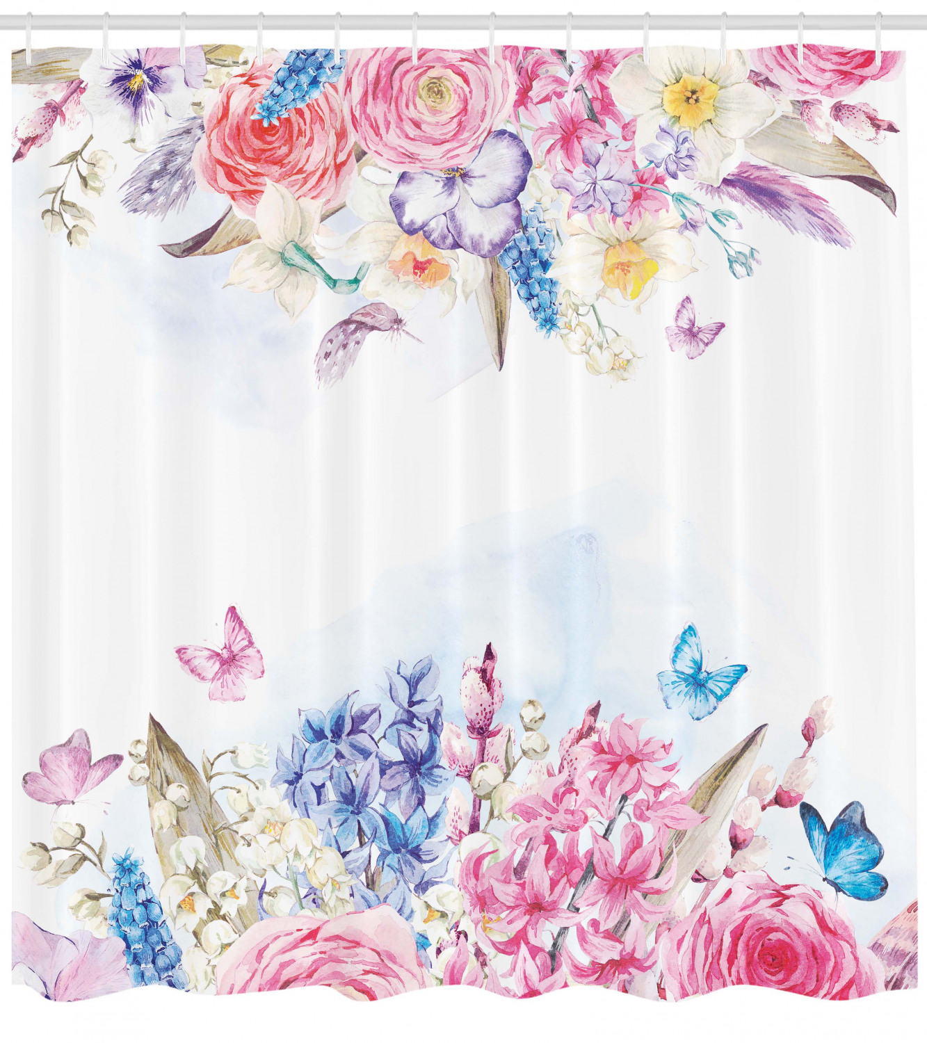 Shabby Chic Shower Curtain Romantic Garden Roses And Daisy