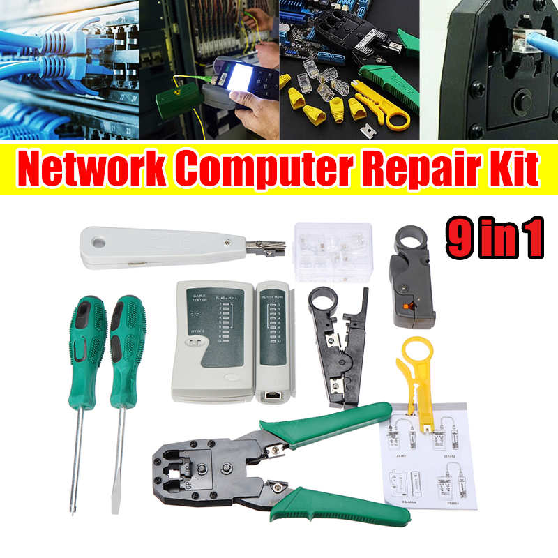 9pcs RJ45 RJ11 CAT5 LAN Network Tool Kit Cable Tester Crimper Stripper Durable
