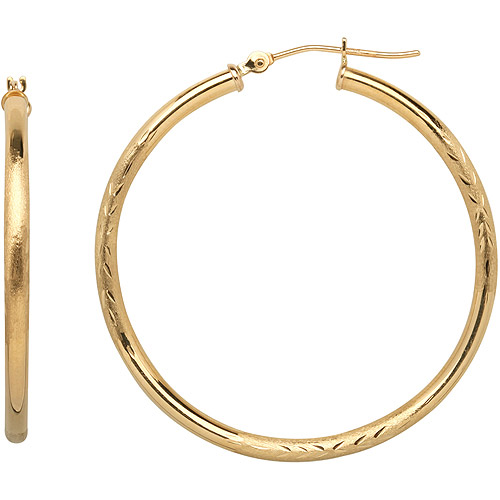 Simply Gold 10kt Yellow Gold Satin and Diamond-Cut Hoop Earrings