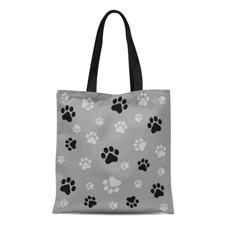 ASHLEIGH Canvas Tote Bag Colorful Pawprint Dog Paw Black and Gray Color Pattern Reusable Shoulder Grocery Shopping Bags Handbag](Gray Tote Bag)