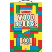 Melissa   Doug 100 Wood Blocks Set - 100 Colorful Wooden Blocks - 4 Colors - 9 Different Shapes - St