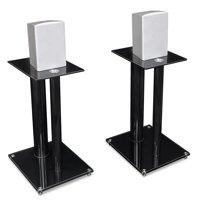 Mount-It! Premium Aluminum Glass Speaker Stands | Set of Two | Black