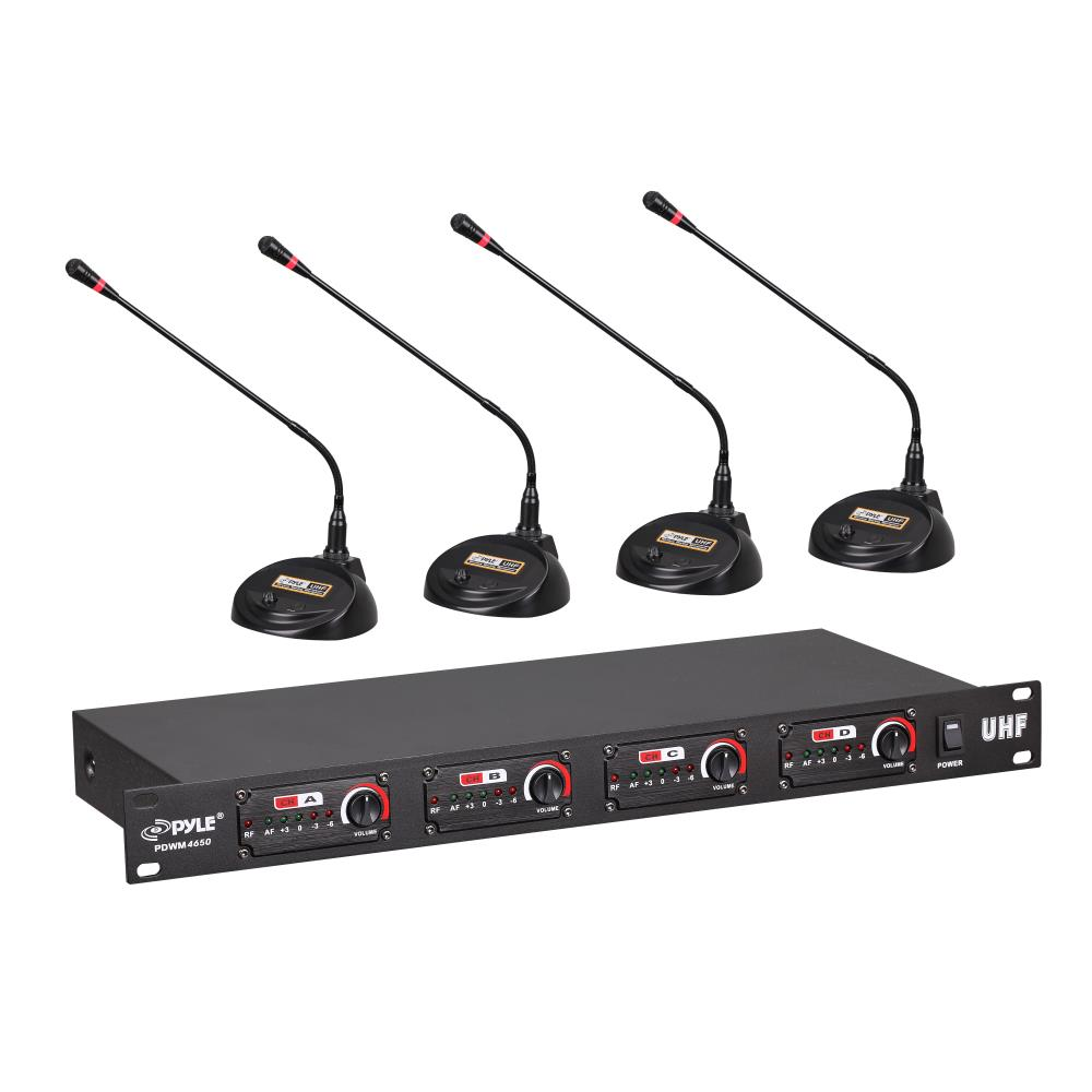 Pyle PDWM4650 Rack Mount 4-Channel Desktop Conference UHF Wireless Microphone System by Pyle