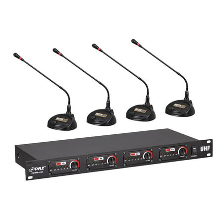 Pyle PDWM4650 - Rack Mount 4-Channel Desktop Conference UHF Wireless Microphone System (Wireless Video Conferencing)