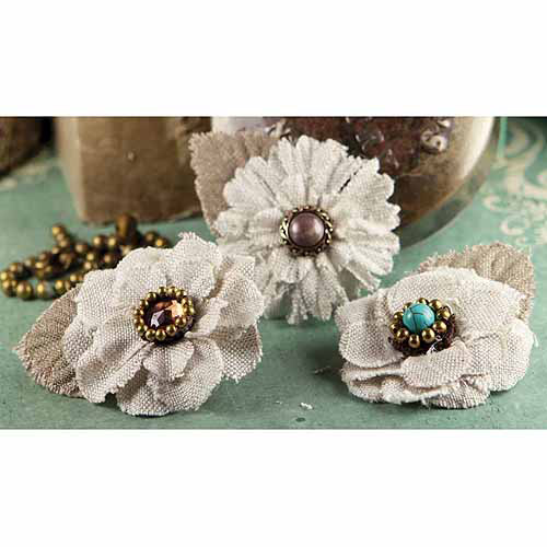"Flaxence Fabric Flowers With Gem & Beads 2"" 3/pkg-Barley"