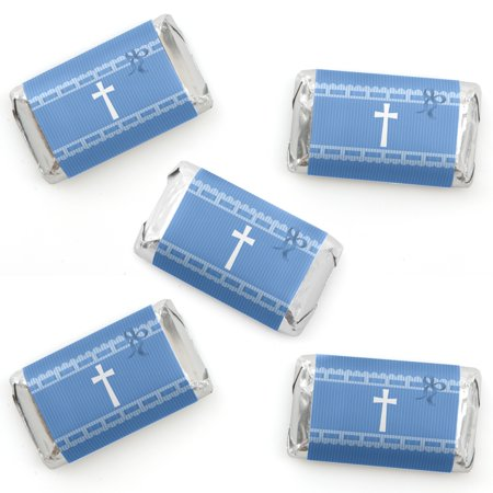 Delicate Blue Cross - Mini Candy Bar Wrapper Stickers - Baptism or Baby Shower Small Favors - 40 Count - Blue Wrapped Candy