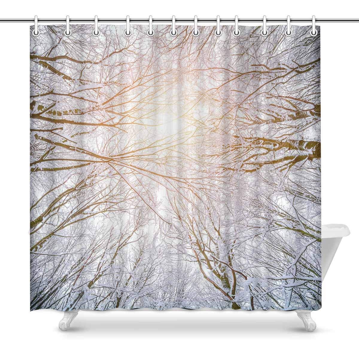 GCKG Bottom View Of Winter Forest Shower Curtain Frosty Woddland Polyester Fabric Bathroom Sets 66x72 Inches