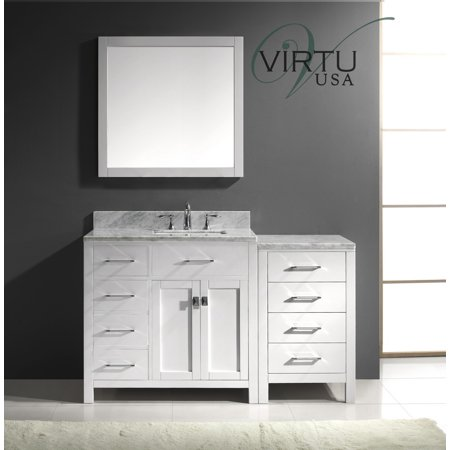 Virtu Caroline Parkway 57 Single Bathroom Vanity Set With Mirror Iv