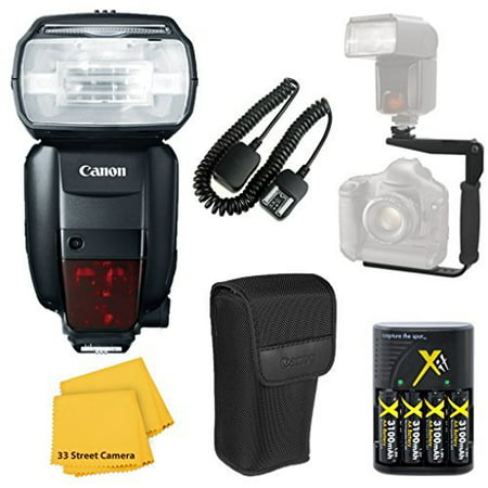 Canon 600EX-RT Speedlite Flash Accessory Bundle Kit + Flash Bracket + AA Battery Charger + TTL Cord + Flash Diffuser + Microfiber Cleaning Cloth for Canon EOS Rebel T6i, T6s,