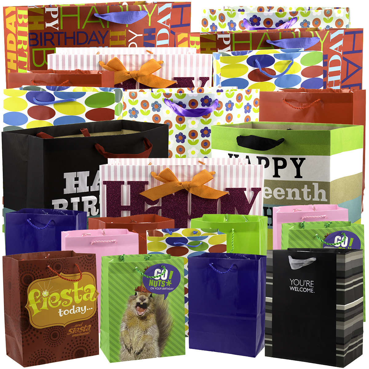 25 Pack Hallmark Gift Wrap Bags Birthday Present Holiday Party Favor Sacks Bulk Lot Assorted Sizes