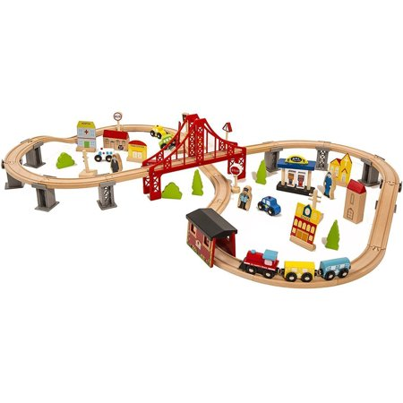 Zimtown 70 Pieces Hand Crafted Wooden Train Set Crossing Railway Track Kids Toy Play Set - Learning - Pink Train Track