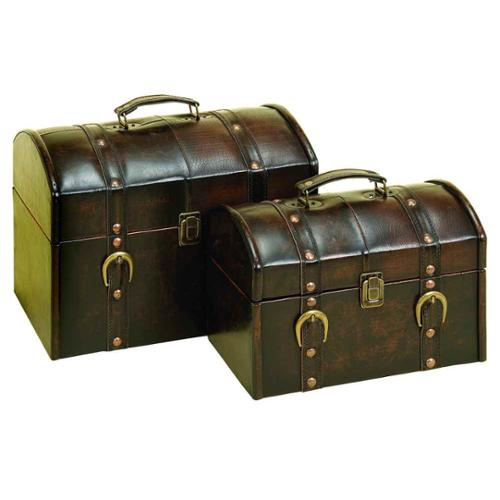 Benzara 71971 Wood Leather Box for Trendy Storage of Small Articles