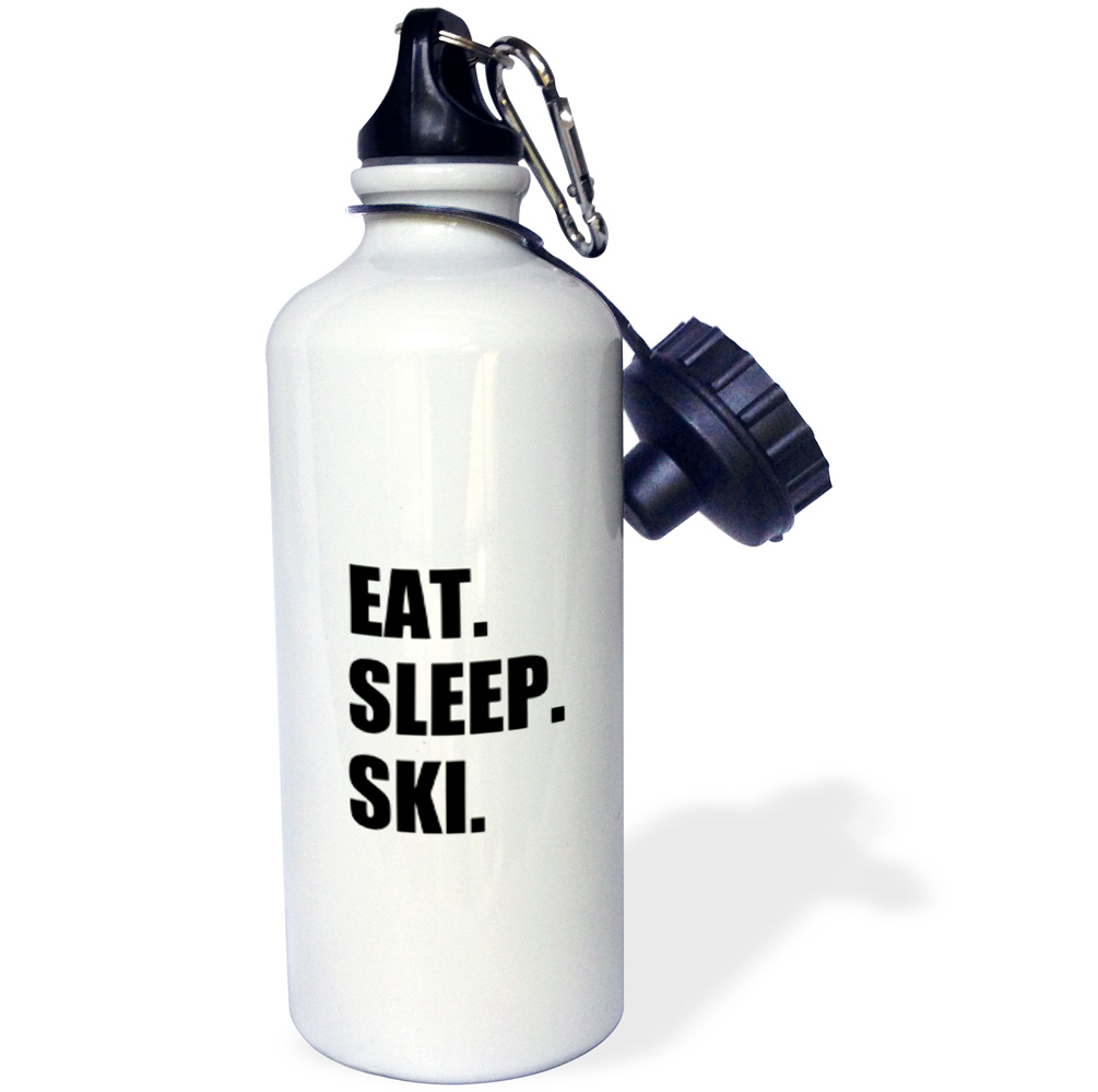 3dRose Eat Sleep Ski skiing enthusiast passionate skier sport black text, Sports Water Bottle, 21oz by 3dRose