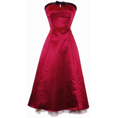 50's Strapless Satin Formal Bridesmaid Gown Holiday Prom Dress, XS, Red, X-Small, Red ()