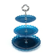 3 Tier Plastic Cake Stand,Christmas Fruit Desserts Cupcake Candy Buffet Tea Snack Cookies Plate Stand Serving Platter Display for Wedding Home Birthday Décor Blue