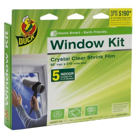 "Insulated Vinyl Windows - Duck Brand Indoor Window Insulation Kit, Insulates Five 3' x 5' Windows, 62"" x 210"" Film"