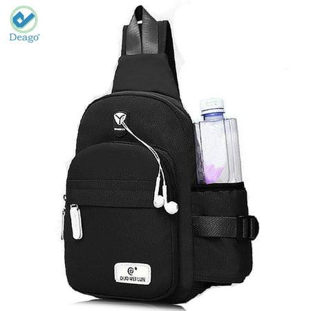 - Deago Canvas Sling Bag for Men & Women - Chest Shoulder Bag Unbalance Crossbody Backpack Water Resistant Daypack for Gym Travel Hiking (7.1