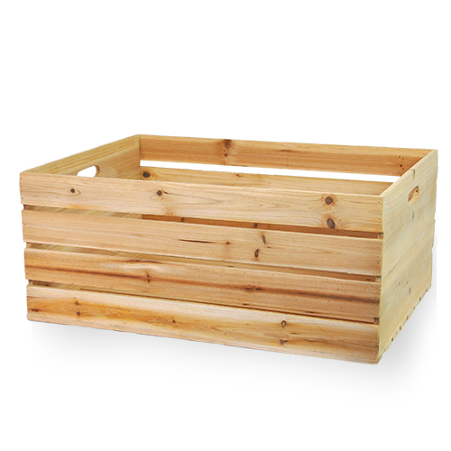 Natural Wooden Storage Crate with In-Handles - XXL 21in