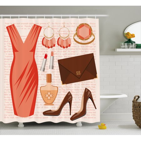 Heels And Dresses Shower Curtain Accessories Fashion Cocktail Dress Lipstick Earrings High Fabric Bathroom Set With Hooks Salmon Brown Peach